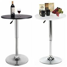 "23.6"" Round Bar Stool Pub Bar Table Adjustable Swivel Counter Height Black White"