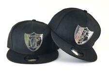 New Era Oakland Raiders Silver Metal Logo 9Fifty Snapback Hat Black