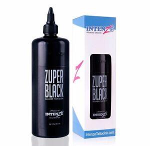Genuine Intenze Professional Zuper Black Tattoo Ink Non-Toxic 12oz 360ml Bottle