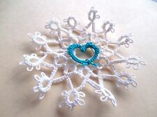 Tatted Snowflake 12 Pt. White Lace  Christmas Teal Heart Dove Country Tatting