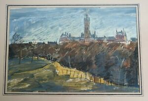 Sheila Wallace mixed media painting of Glasgow University - N.S.C.R Exhibition