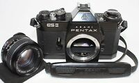 READ! Asahi Pentax ESII Black Body 35mm SLR Film Camera w/ 55mm F/1.8 lens M42
