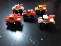 MICRO MACHINES - GALOOB - 1987 ROAD CHAMPS LOT (5) - TOW TRUCK & TRUCK 4x4