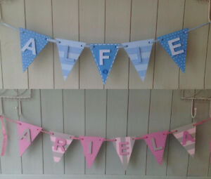 *ANY NAME & ANY COLOURS* Personalised Painted Wooden Bunting Flags & Letters #B3