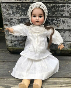 """18"""" Antique Gebruder Kuhnlenz Bisque Head French Trade Doll Orig Period Clothes"""
