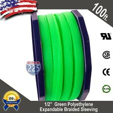 """100 FT 1/2"""" Green Expandable Wire Cable Sleeving Sheathing Braided Loom Tubing"""