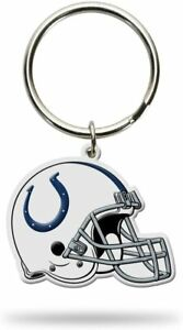 Indianapolis Colts Helmet Key Chain 2 pack Flexible Rubber Metal King Ring