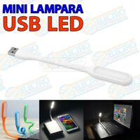 Lampara LED USB flexible color BLANCO luz portatil linterna leer bateria externa