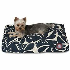 Navy Blue Plantation Small Rectangle Indoor Outdoor Pet Dog Bed With Removabl.