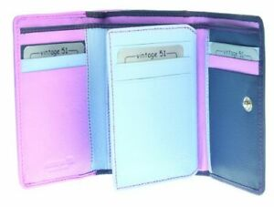 Golunski leather trifold purse Style 883 M6  Col Pink/Blues   Multi RFID  New