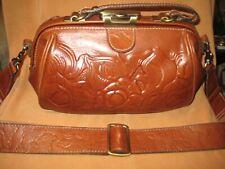 New ListingPatricia Nash Leather Tooled Framed Doctor Bag Satchel Brown Purse Guitar Strap