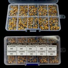 500pcs 10 Values 0.1uF~10uF 50V Ceramic Capacitor Assorted Kit Assortment Set