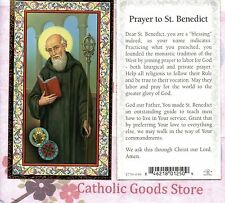 St Benedict with Prayer to St Benedict  - Gold Trim - Paperstock Holy Card