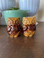 Mcm Vintage Cute Ceramic Owl Salt and Pepper Shakers 1970s Kitsch Retro