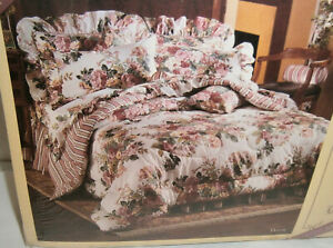 Vintage NIP Allyson Kent Floral Pink Roses Twin Fitted Sheet