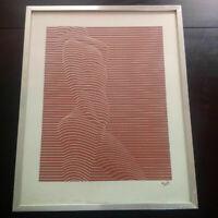 Grande sérigraphie nu féminin érotisme années 70 Op Art signée encadrée curiosa