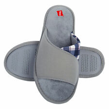 Hanes Womens Open Toe Contrast Plaid Slide Slipper With Memory Foam and