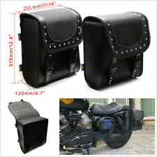 1 Pair Left&Right Motorcycle Scooter Retro Saddle Bag Tool Bags PU Leather Black