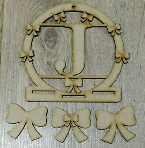 MDF Personalised Initial Bow Holder (L) - Embellish, Pain, Colour, DIY