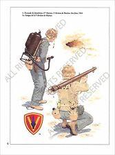 PLANCHE UNIFORMS PRINT WWII US ARMY UNITED STATES MARINE CORPS Iwo Jima 1945