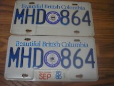 1986 British Columbia 32 Year Old PASSENGER License Plate Set MHD 864