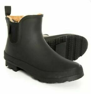 Chooka Women's Plush Waterproof Slip-On Chelsea Rain Boots Black, Pick A Size