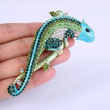 Green Enamel Lizard Chameleon Animal Brooch Pin Austrian Crystal Gold Tone