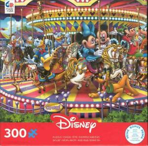 Disney 300 Pc Ceaco Jigsaw Puzzle Mickey and Friends on a Carousel NIB