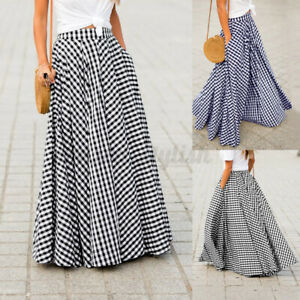 Womens 8-24 Casual Dress Loose Dresses Long Maxi Skirts Ladies Holiday Plus Size