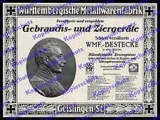 orig. Reklame WMF Geislingen Steige Wilhelm II. Adel Vaterland Patriotismus 1914