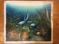 Original Abstract Painting On Canvas Unsigned - Dolphins