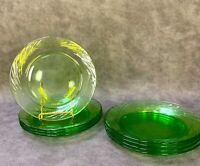 "Set of 4 Pyrex Festiva Spring Green Glass 7.5"" Dining Salad Plates USA Vintage"