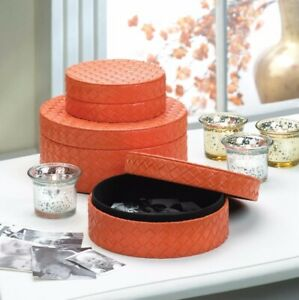 3 Round Keepsake Boxes Faux Leather Orange w/ Woven Design