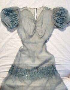 Vintage 1930's SHEER PARTY DRESS 30's 40's Lace Formal Gown Antique Art Deco