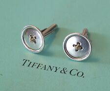 Tiffany & Co Sterling 925 Silver / 18K 750 Yellow Gold Button Cuff Links