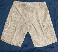 """Sz 8 CABI Style# 350 100% Linen Tan/Beige Cargo Bermuda Shorts 11"""" Inseam EUC"""
