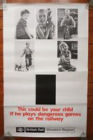 1960s Dangerous Games Rail Safety Original Railway Travel Poster