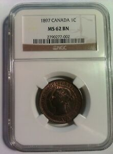CANADA: 1 cent 1897. NGC graded MS 62 BN