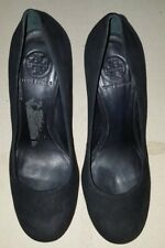Tory Burch Black Suede Camille Platform Heels Shoes Size 8M
