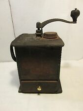 Vintage Wood Box Coffee Grinder Coffee Shop Dovetails Decor ornate handle tall