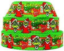 "Grosgrain Ribbon 7/8"" & 1.5"" Merry Christmas Grinch Man Snowman Printed."