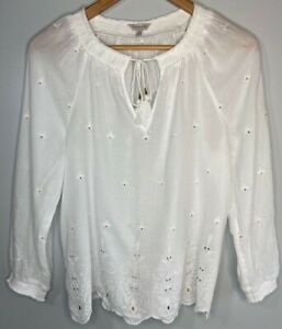 Lucky Brand Sheer White Peasant Embellished Top Boho Festival Ties Women's Small