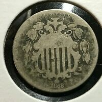 1868 SHIELD NICKEL FROM OLD TYPE COIN COLLECTION