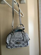 EUC Coach Kristin 19329 Op Art Domed Satchel in Beautiful Gray Sateen!!!!