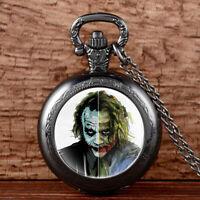 Antique Joker The Dark Knight Pocket Watch Chain Necklace Pendant Vintage Retro