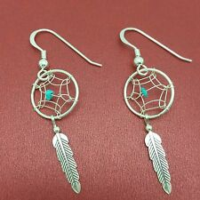 Sterling Silver Dreamcatcher Earrings Feather Turquiose stone dream catcher