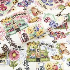 Cotton Print Fabric FQ Floral Field Garden Vintage Retro House Bee Farm Sew VA37