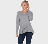 Isaac Mizrahi Live 2-Ply Cashmere V-Neck Ruffle Peplum Sweater Heather Grey XXS