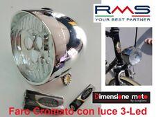 2420 - Faro/Fanale Cromato a 3-Led BTA + Batterie per Bici 26-28 Corsa Vintage