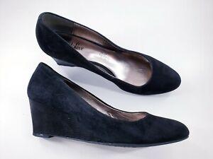 M&S Footglove size 5.5 (38.5) black suede slip on wedge heel court shoes